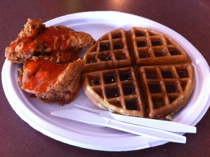 Jennifer recommended the waffles, Chris recommended the chicken, so I got both!